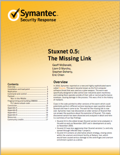 Stuxnet 0.5: The Missing Link
